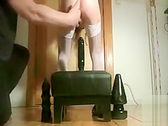 My naughty girlfriend sits on a couple of huge sex toys