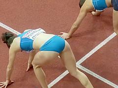 Ravishing Italian sportswoman runs on the athletic track