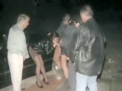 Slut pisses her panties and goes dogging outdoors