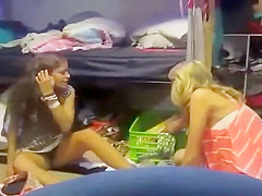 My naughty roommate reveals her underwear to the camera