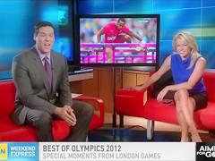 Stunning TV host shows off her underwear during a show