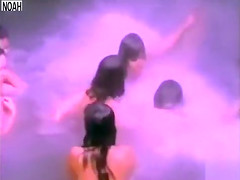 Naked maids swimming under the waterfall
