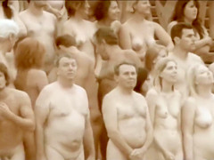 thousands of people pose completely naked for an art creation