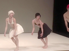 Beautiful actresses get partially naked while acting in a play