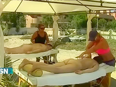 Real nudists giving the TV interviews