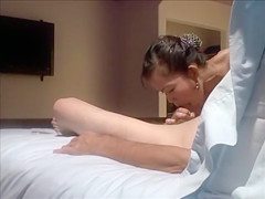 Cute Thai masseuse trying to give me a blowjob