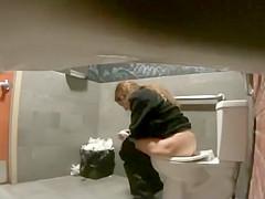 Hidden camera pissing clips from a public toilet