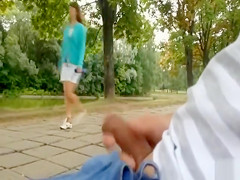 Amateur compilation of dude jerking off his dick in the park