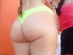 Curvaceous lass has her buttocks caught on tape