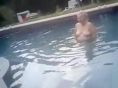 My buddy's fat mom took a swim in the pool completely naked