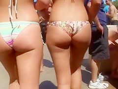 Sweet girls get their nice booties caught on tape