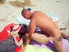 hardcore sex with a mature couple at the nudist beach