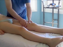 Slim girl's pussy moistens as she receives a massage for her pelvis and tits