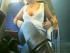 Braless woman enjoys flashing them for the cam