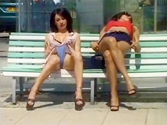 pussy flashing upskirt babes on park bench