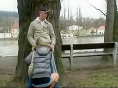 Beautiful blonde gets fucked in public park