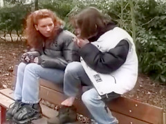 Public pissing on a park bench