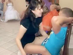 Lovely bridesmaids learn to give lap dances in class