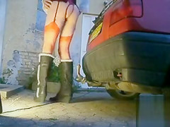 Sissy rides trailer hitch with his asshole
