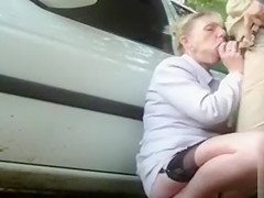 Dogging milf takes cumshots from random strangers