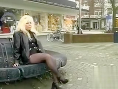 German blonde pisses her panties and pantyhose in public