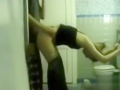 Amateur girlfriend with tight body fucked in bathroom