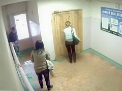 Peeing girls caught on security camera in the lobby