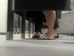 Foot fetish cam in busy public restroom