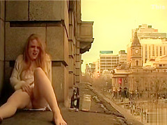 Ginger girl masturbates in public outside her apartment