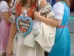 Oktoberfest amateur babe flashes ass in public
