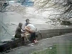 Girl watches her friend having sex and squirting in public