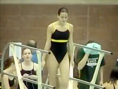 Girls swim in their tight costumes