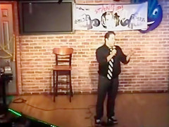 Amateur shows her shaved pussy to a comedian