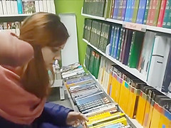 Flashing his cock at the book store