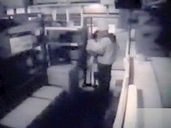 Restaurant employees copulate in the supply room