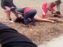 Black women fighting till bare skin