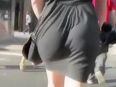 Hot amateur booty in a black dress