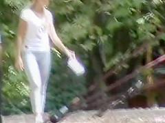 Spandex leggings on a girl in the public park