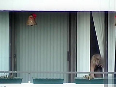 My slim blonde neighbor naked in her apartment