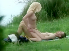 Hot voyeur sex outdoors with horny young couple