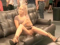 Perfect blonde showing off her sweet crotch and perky titties