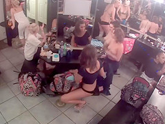 Pretty strippers going naked in the backstage