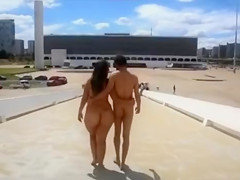 Newly married couple walked naked in the public place