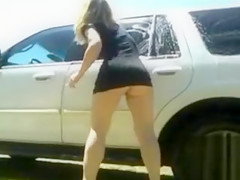 Perfect woman washes the car