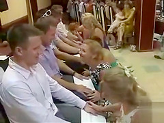 Russian bridesmaids in dresses and heels play a naughty game