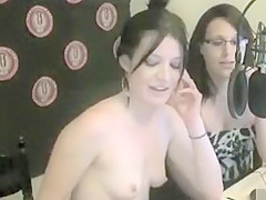 Cute girl gets topless on a radio show