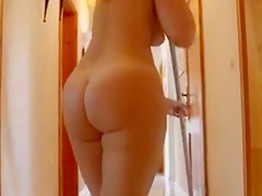 My curvy girlfriend cleans house naked
