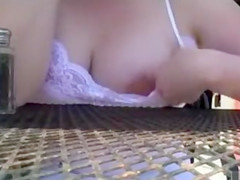 Flashing wife has hot fun at the restaurant