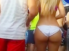 Slow motion dancing of a bikini ass