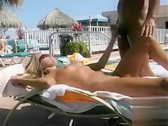 Amateur sex at the pool with a brunette girlfriend